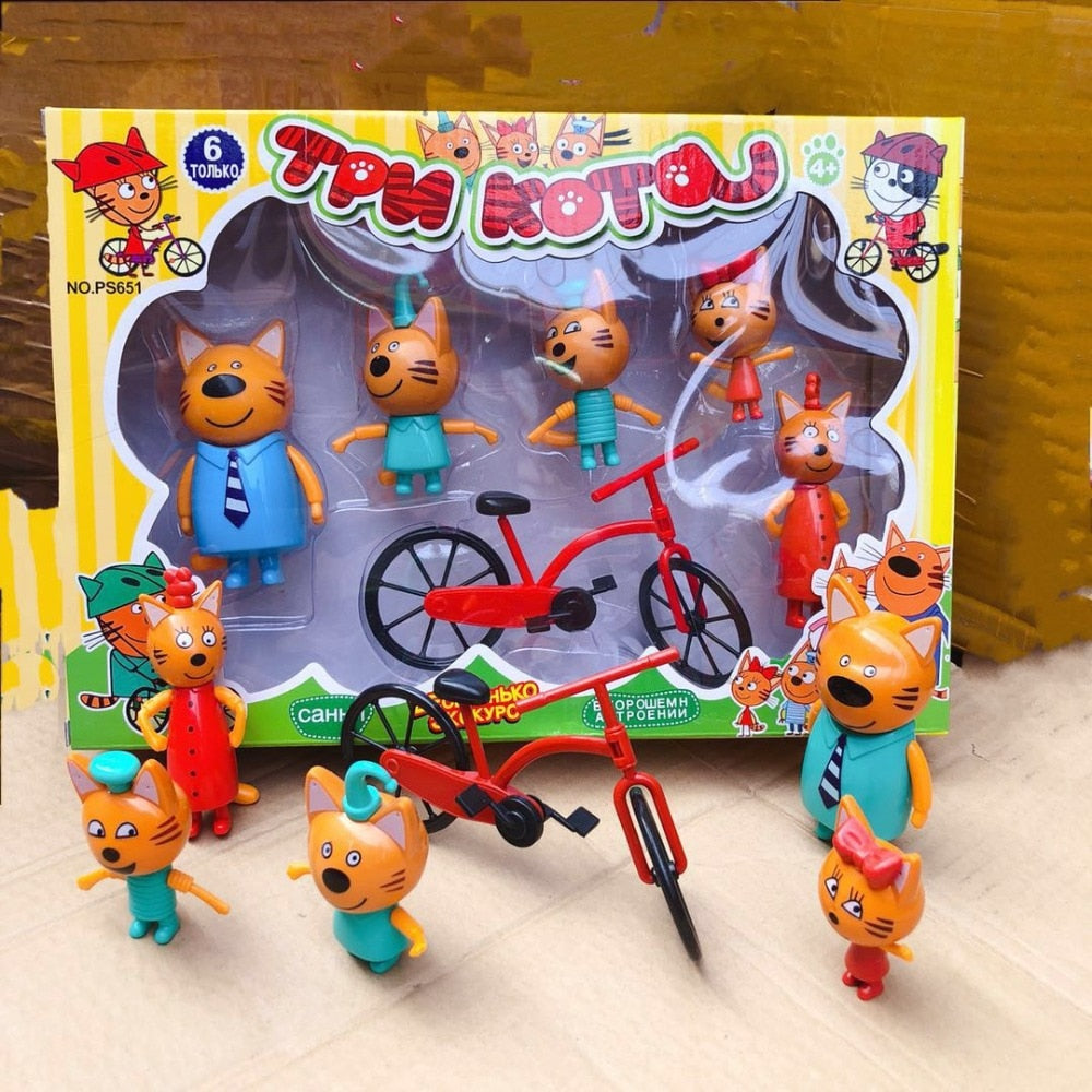 Children's toys Russian cartoon three cats in the Figures new year birthday gifts for Girls