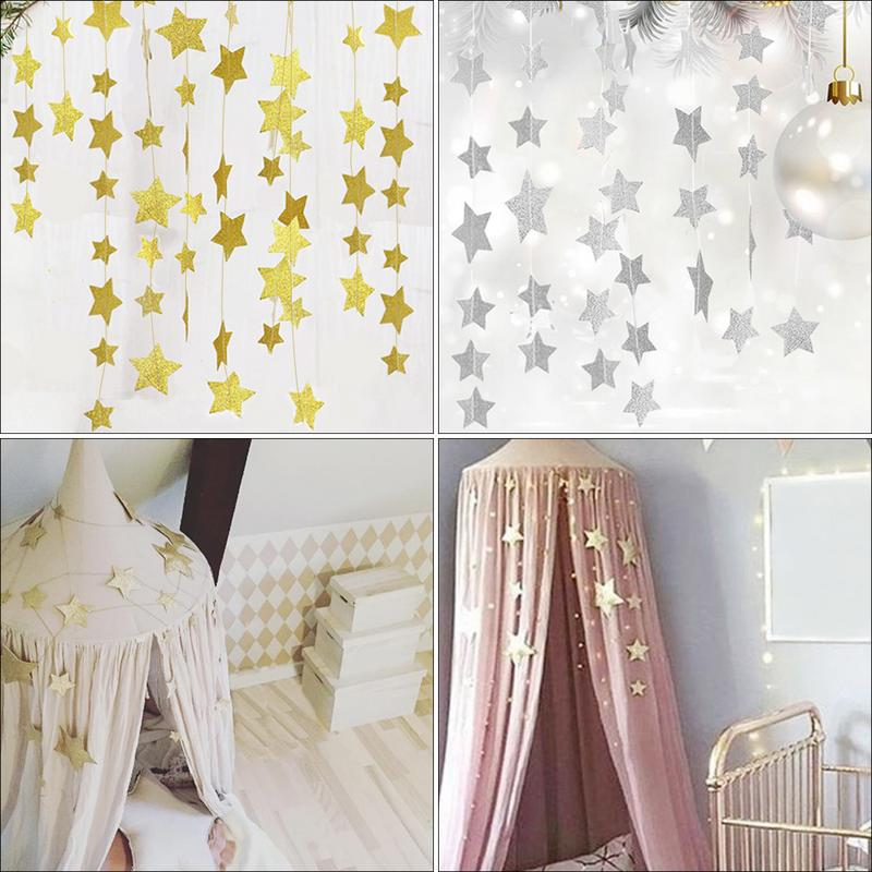 Gold Stars Hanging Decoration Crib Net Garland Children's Rooms Mosquito Nets Sparkling