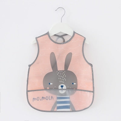 Baby Bibs Lovely Cartoon Animals Pattern Infant Bib Waterproof EVA for Children All Season Shorts Sleeve Feeding Bibs