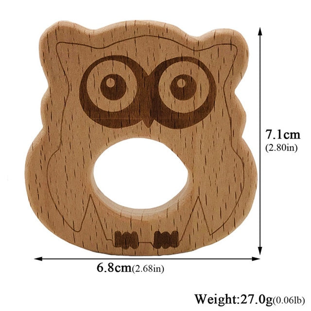 Baby Wooden Teethers Food Grade Beech Wood Animal Tortoise Koala Whale Turtle Wooden Shape Pacifier