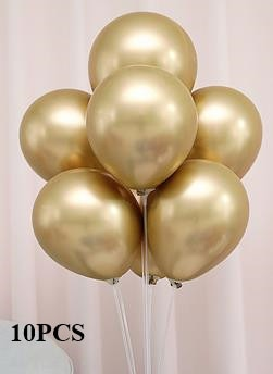 10pcs Gold and Black Latex Balloon Marble Metallic Balloon Chrome Balloons Wedding Adult Birthday Party Photography Props Decor