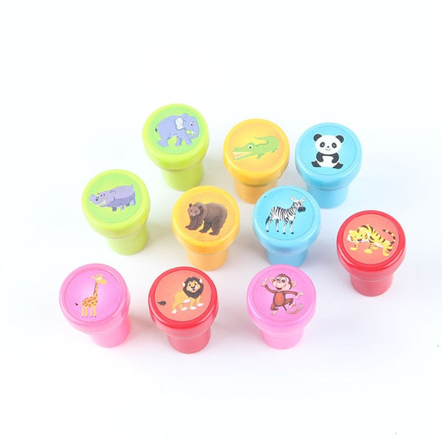 Children Toy Stamps Cartoon Animals Fruits Kids Seal For Scrapbooking Stamper 10pc