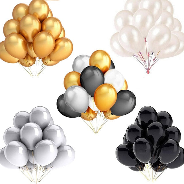 30pcs/lot 12inch 10inch 5inch Gold Silver Black Latex Balloons Birthday Wedding Party Decor Air Helium Globos Kids Gift Supplies