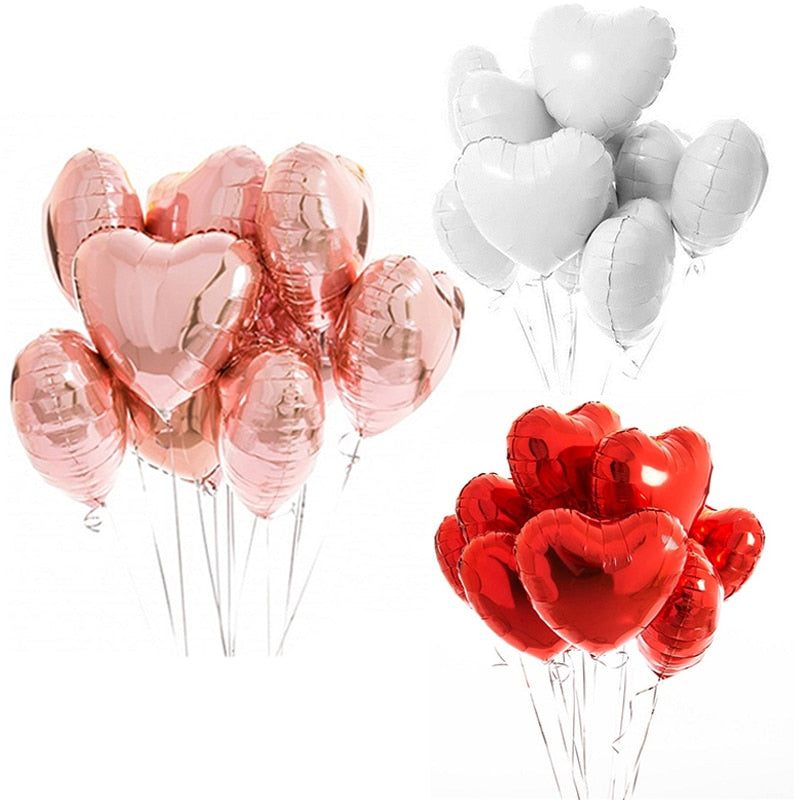 10pcs Multi Rose Gold Heart Foil Balloons Confetti Latex Birthday Baloons Birthday Party Decorations Kids Adult Wedding Ballons