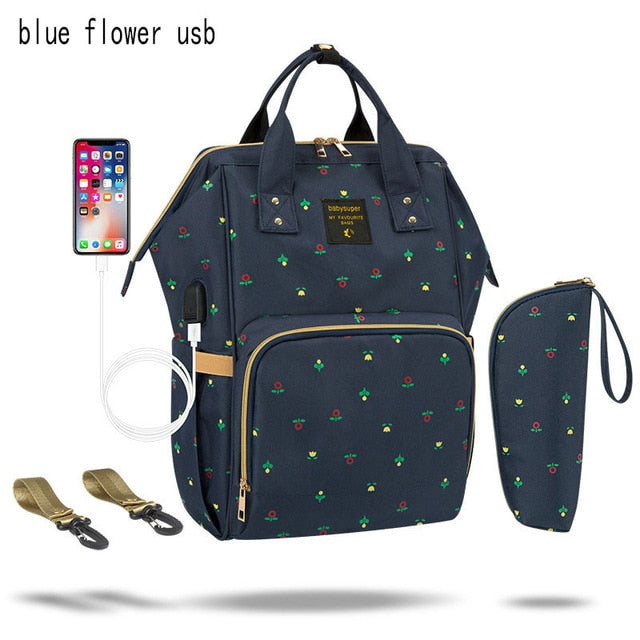 Mummy Maternity Nappy Bag Waterproof Diaper Bag With USB Stroller Travel Backpack Multi-pocket Nursing Bag for Baby Care