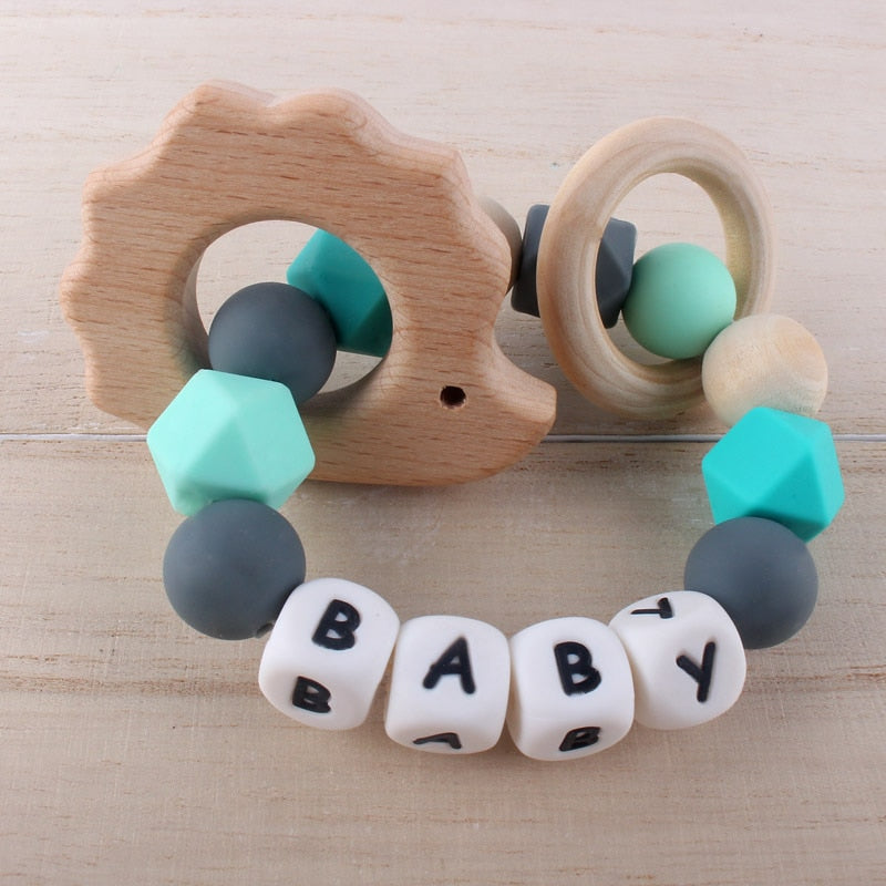 Baby Name Teether Bracelet Ring Cute Beech Wooden Pendant Baby Boy Girl Teething Rattle Shower Gift
