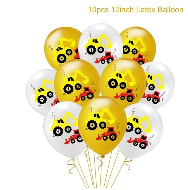 Birthday Balloons Cars Construction Party Decorations Balloon Birthday Tractor Ballon Helium