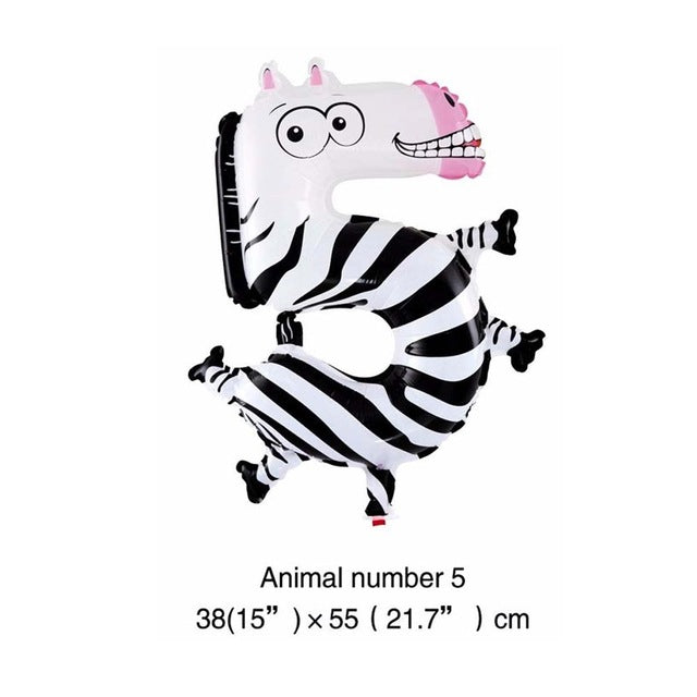 6 Inches Animal Cartoon Number Foil Balloons Party Hat Digit Air Ballons Birthday Party
