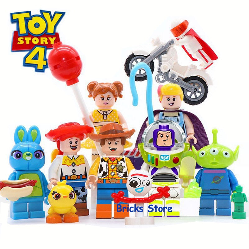 8Sets Toy Story 4 Buzz Lightyear Woody Jessie Alien Ducky Bo Peep Model Blocks Construction Building Bricks Toys For Children