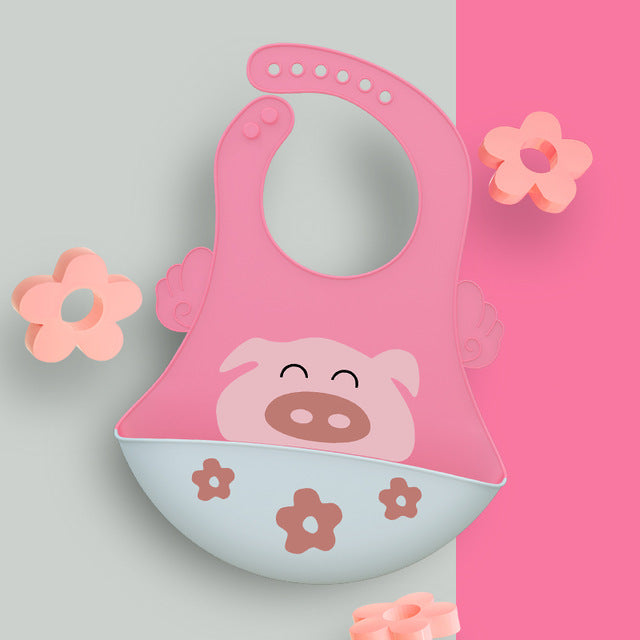 Baby Bib Food Grade Silicone Drool bib Soft And Comfortable Saliva Towel Oil-proof Lunch Baby Bib Adjustable