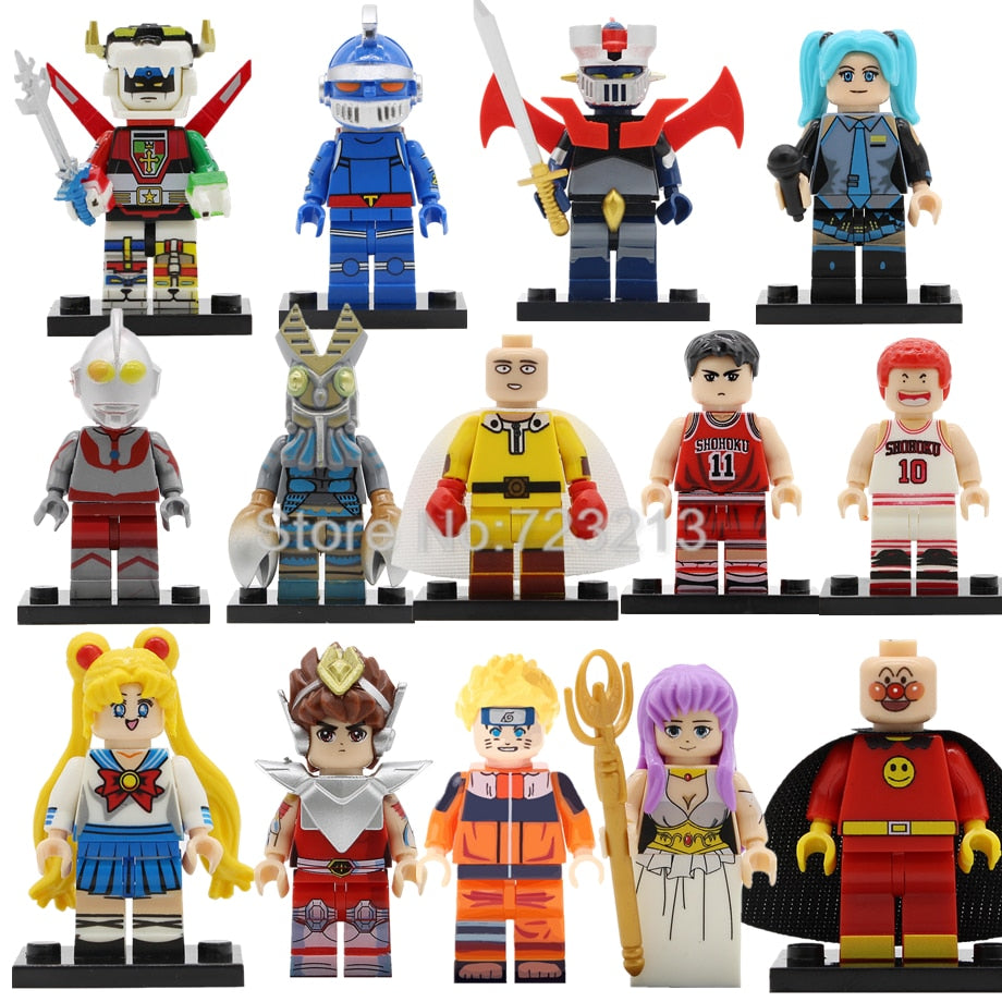 Hot Single Sale Japan Comic Catoon Naruto Hatsune Miku Figure Mazinger Z Set Building Blocks Model Kits Bricks Toy Legoing
