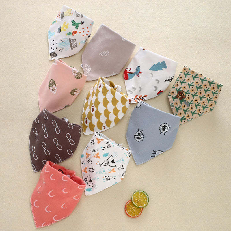 5Pcs Baby Bibs  Triangle Cotton Cartoon Child  Bibs Dribble Bibs Newborn  Absorbent Cloth Soft Comfortable Adjustable Snaps