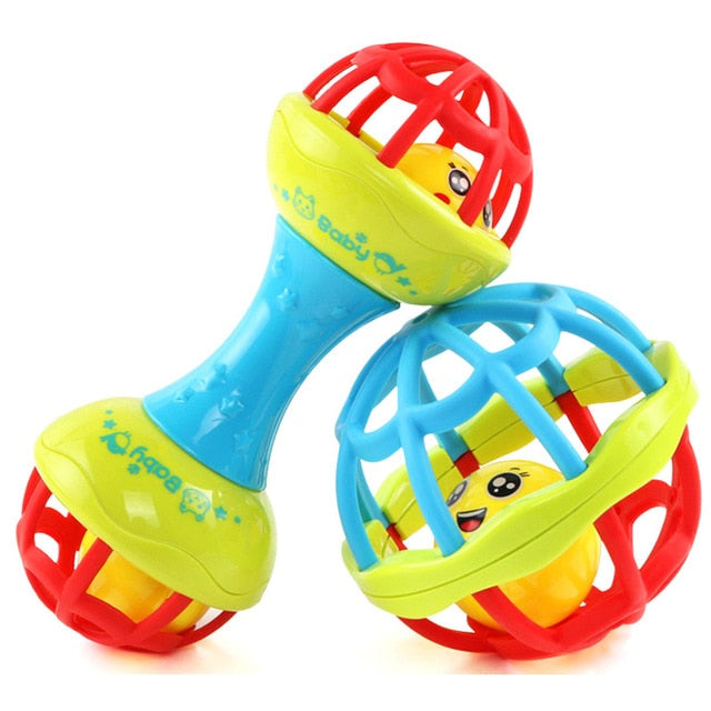 Baby Rattles Toy Food Grade Teething Rattle Plastic Hand Bell Intelligence Grasping Gums Baby Teether Toy for 0-3years
