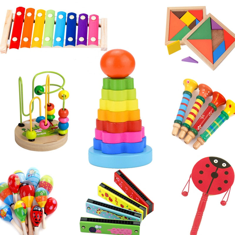 DIY Mini Baby Wooden Toy Montessori Xylophone Sand Hammer Harmonica Colorful Early Educational Funny Toys