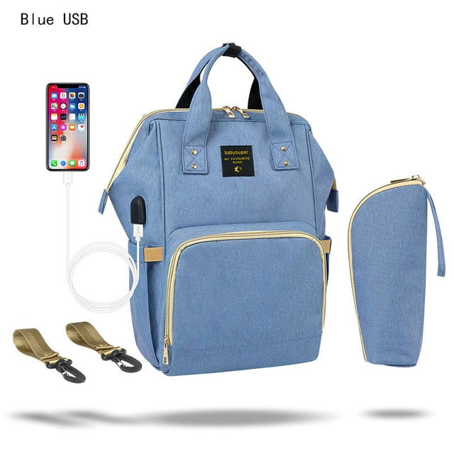 Fashion Mummy Maternity Nappy Bag Waterproof Diaper Bag With USB Stroller Travel Backpack Multi-pocket Nursing Bag for Baby Care