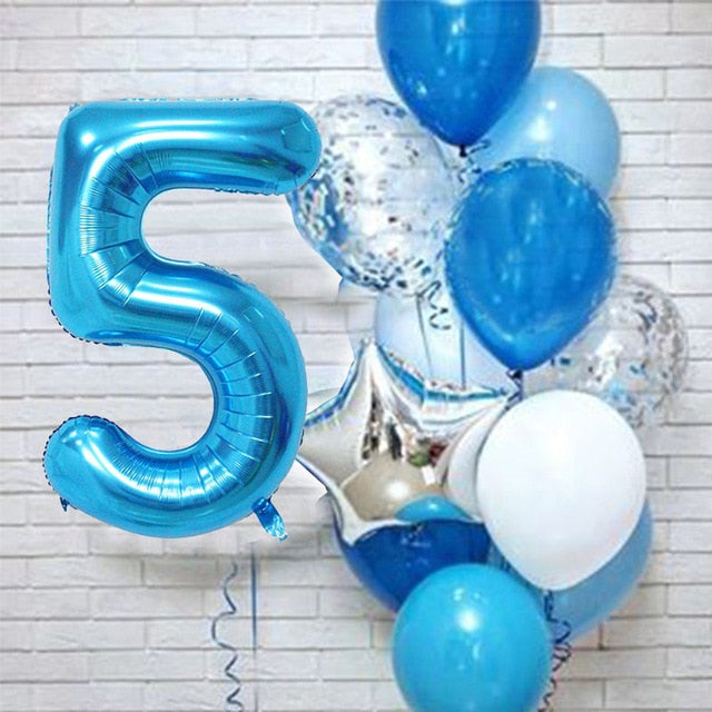 Birthday Balloons with 40 inch big blue Number baloon 3/3rd Birthday Party Decoration