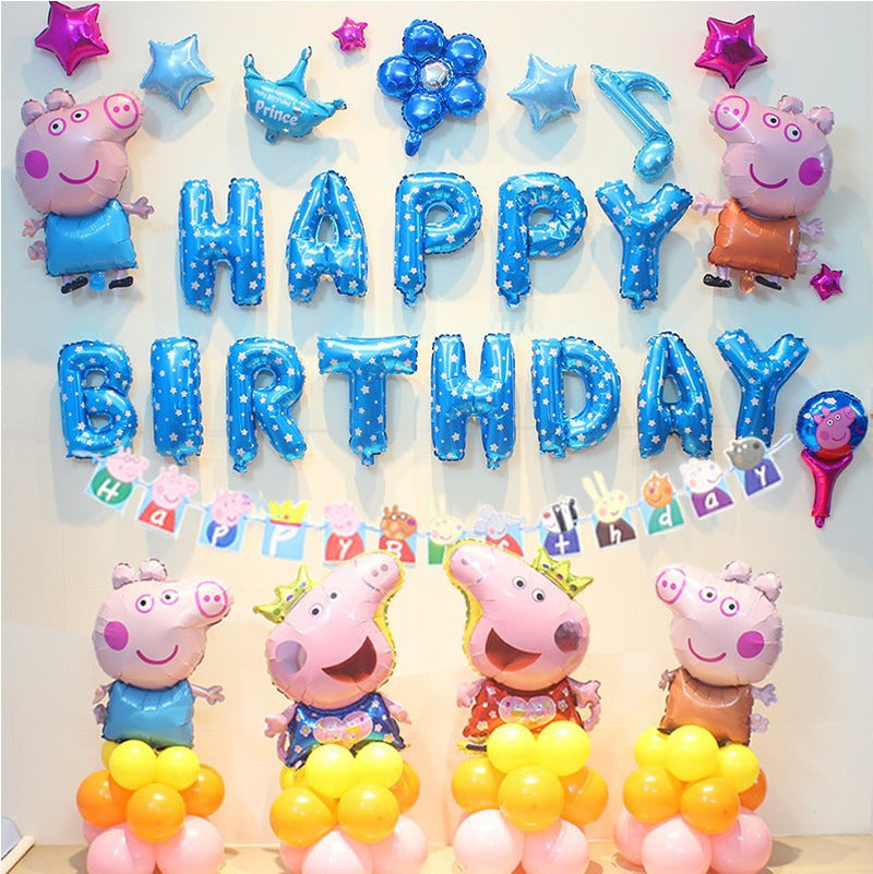 Peppa Pig Birthday party Foil Balloons birthday party Room Decorations Pink Blue Kids Toys