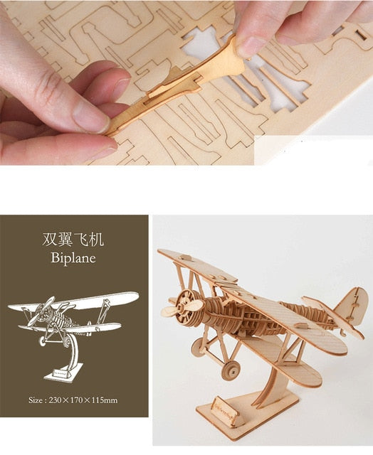 Laser Cutting Sailing Ship Biplane Steam Locomotive Toys 3D Wooden Puzzle Assembly Wood Kits Desk Decoration for Children Kids