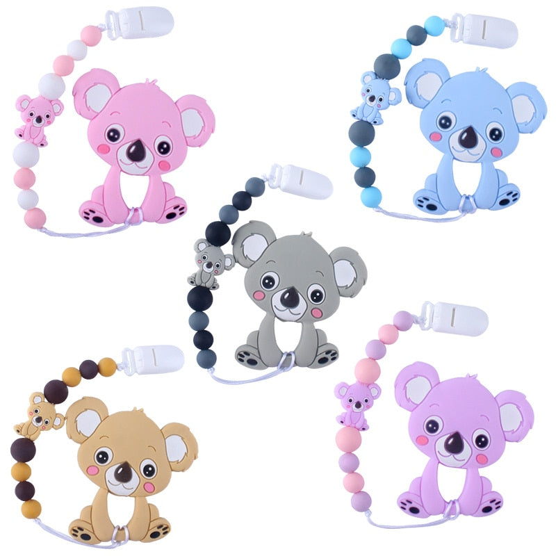 Baby Teethers Animal Silicone Beads Food Grade Koala Pendant Pacifier Clip Chain Baby Teething Toys