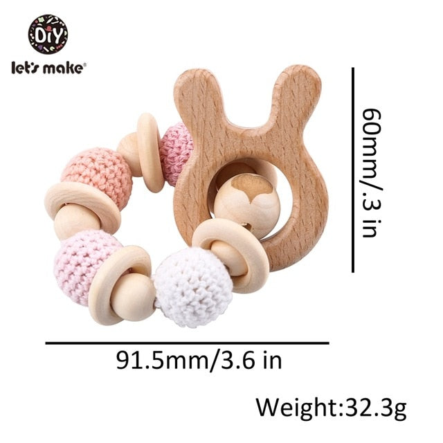 1PC Wooden Teether Hedgehog Crochet Beads Wood Crafts Ring Engraved Bead Baby Teether