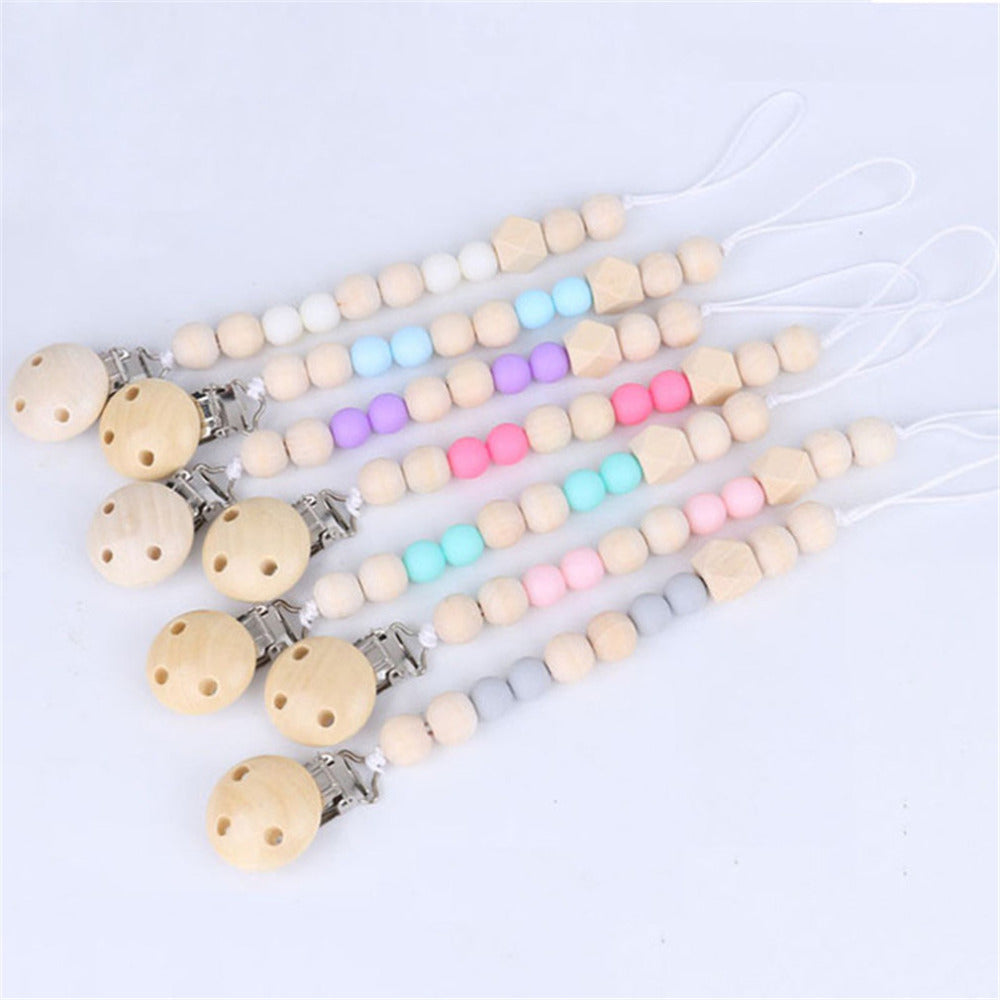 1Pcs  New Wooden Baby Toy Gift Pacifier Clip Chian Holder Wooden Bead Teether Toy for Baby Chew Rattles Mobiles Newborn Toy Gift