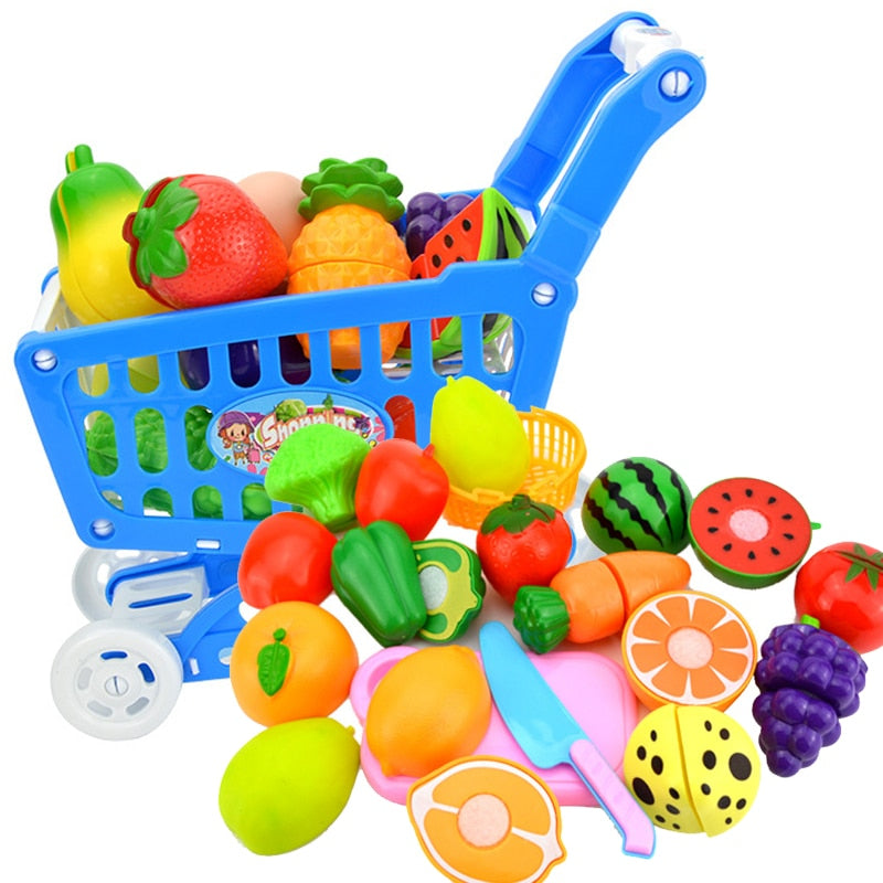 Trolley Children Pretend Play Supermarket Toy Fruits Vegetables Toys for Children