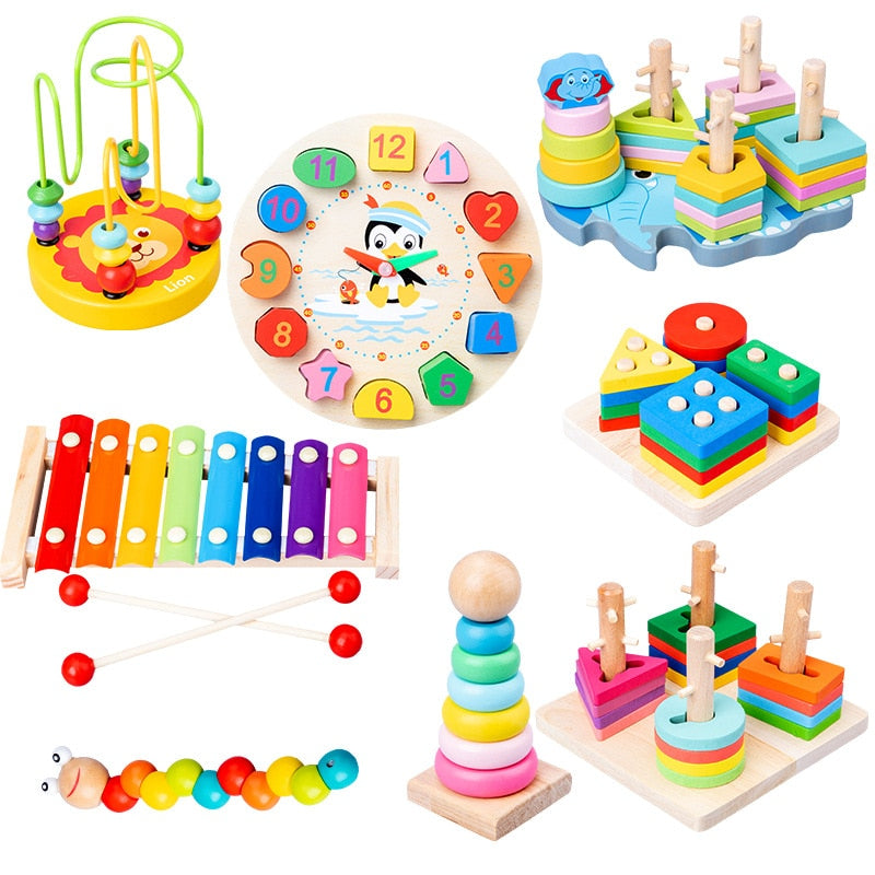 Baby Toys Colorful Wooden Blocks Baby Music Rattles Graphic Cognition Early Educational Toys For Baby 0-12 Months
