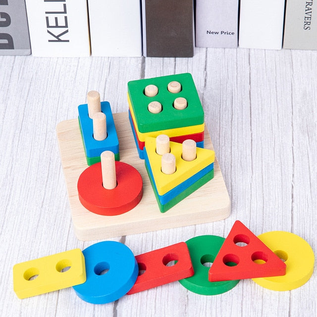 Baby Toys Colorful Wooden Blocks Baby Music Rattles Graphic Cognition Early Educational Toys
