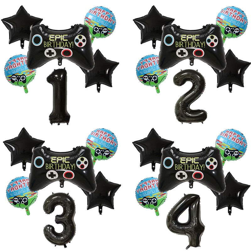 6pcs 30 inch Number Balloons Big Black Gamepad Boy GAME ON Foil Balloon Happy Birthday Decoration Black Match Props Gaming Ball