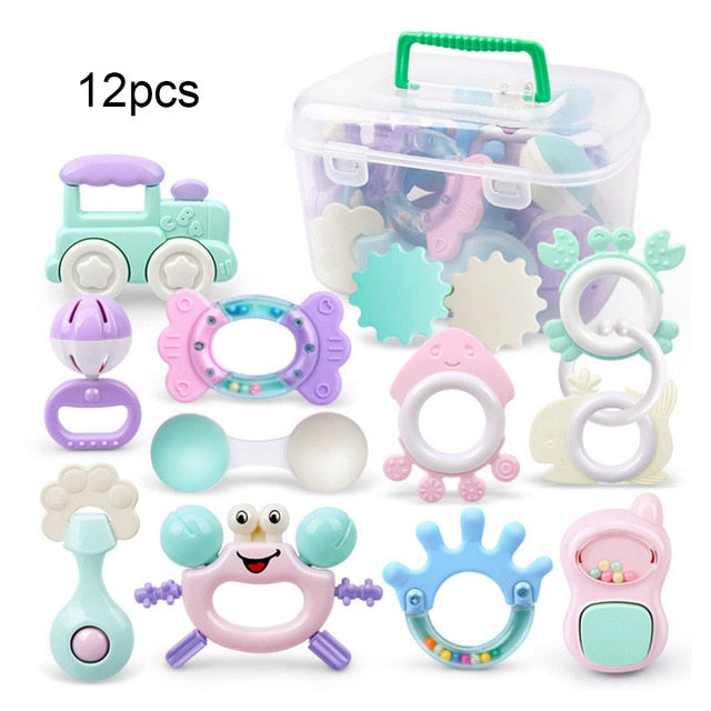 Baby Rattles Toys 0-12 Months Teether Music Hand Shake Bed Bell Educational Toy
