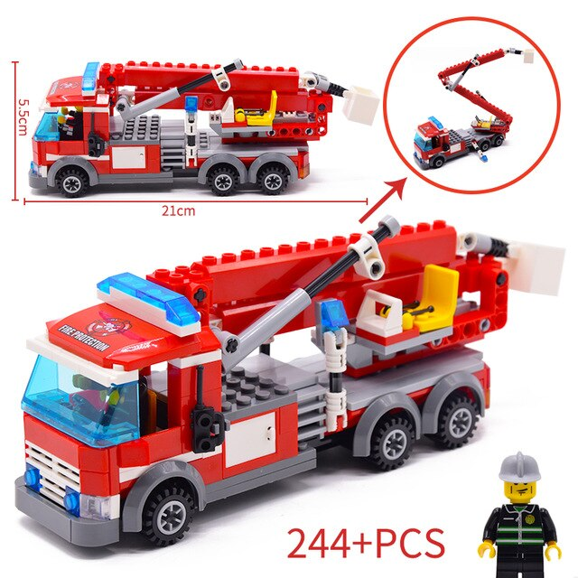 244pcs Fire Fighting Rescue Trucks Car Building Blocks compatible legoinglys City Firefighter Bricks children Toys Christmas