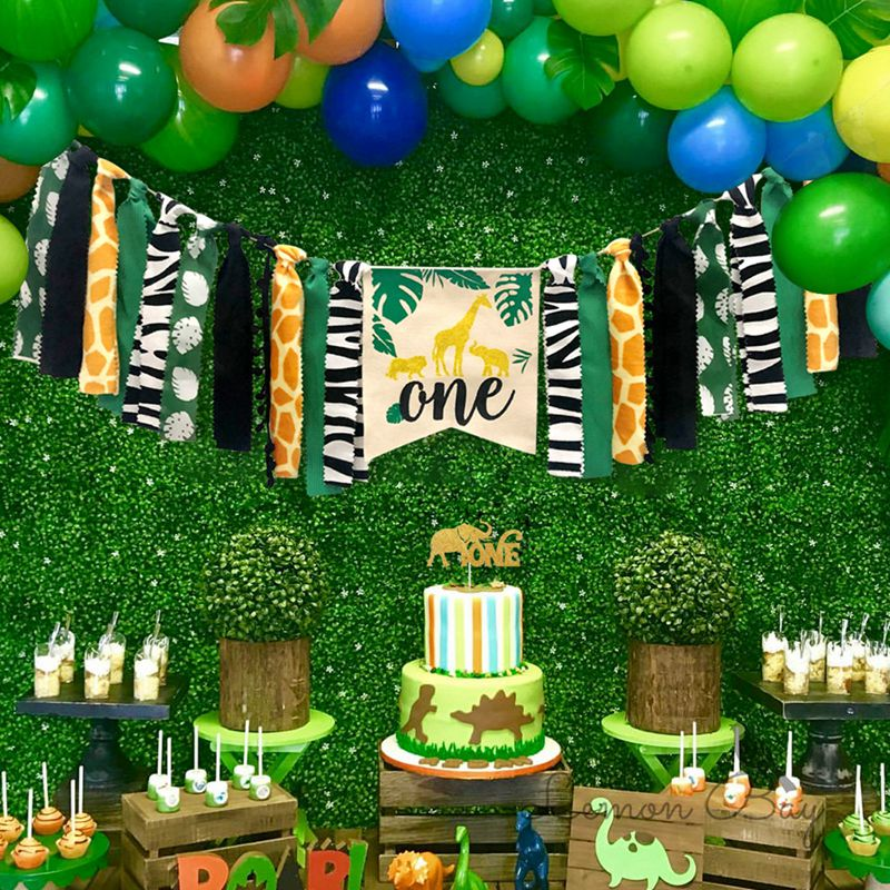 1st Birthday Party Decorations Kids First Birthday Balloons Banner Hats Jungle Theme Party Supplies Safari Animals Party Decor