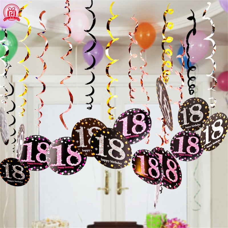 6PCS Plastic Spiral Ornaments,Latex Happy Bityhday Balloons Party Decorations