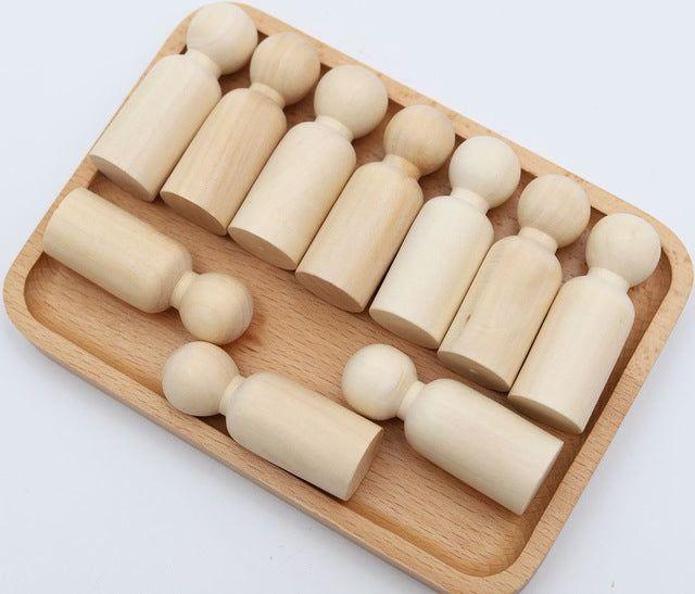 Wooden Peg Dolls Baby Wood Teether Kids Room Decor Handmade DIY