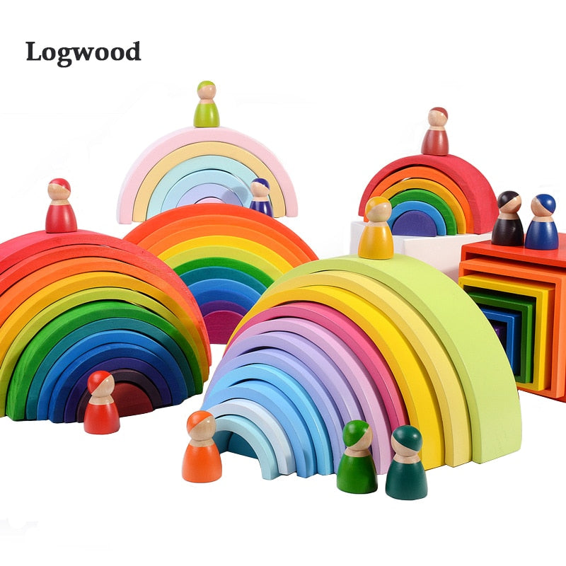 Baby Toys Large size Rainbow Stacker Wooden Toys For Kids Creative Rainbow Building Blocks Montessori Educational Toy Children