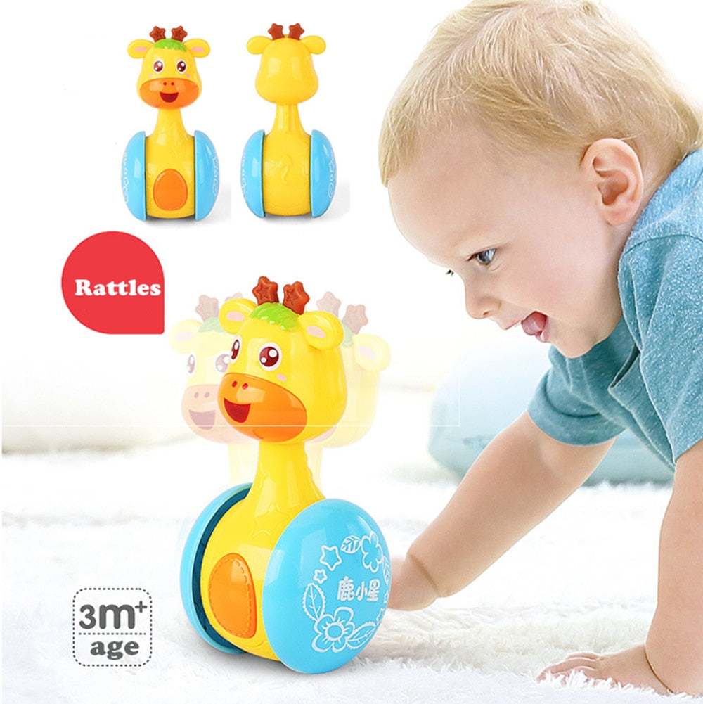 Baby Rattles Tumbler Doll Baby Toys Sweet Bell Music Roly-poly Learning Education Toys Gifts