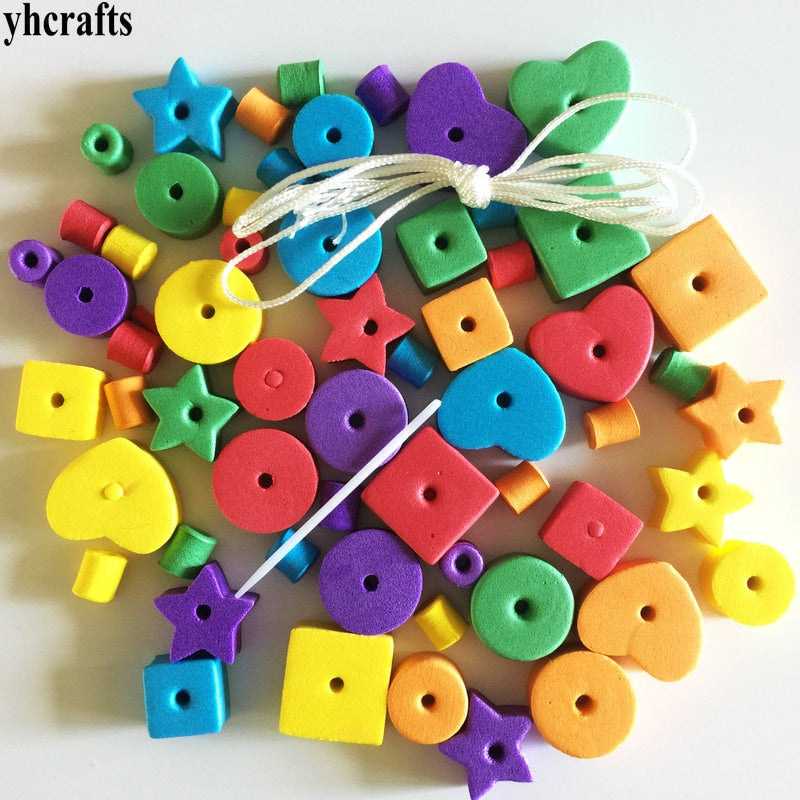 Geometric figure foam lacing beads.Creative handwork.Early educational toys