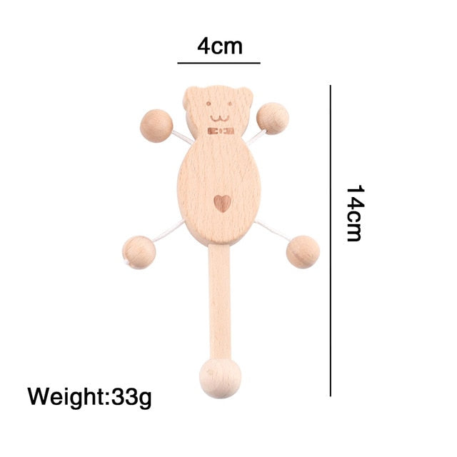 Beech Wooden Rattle Teethers Baby Chew Toys Baby Products Food Grade Wood Handmade Baby Rattles DIY Accessories