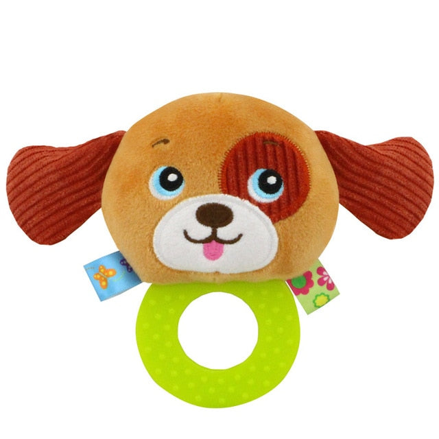 Animal Hand Bells Teether Rattle Doll Plush Baby Rattles Toys Infant Newbron Early Education Toys Monkey Panda Lion Dog
