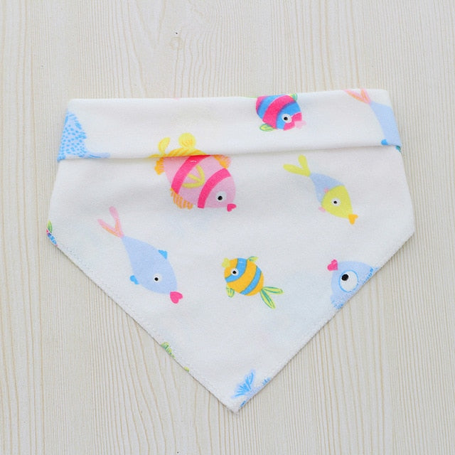 Baby Bibs For Boys Girls Bandana Bib Burp Cloth Print Cartoon Triangle Cotton Baby Scarf Meal Collar Baby Feeding Accessories