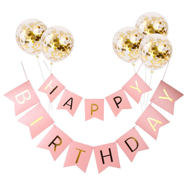 Happy Birthday Balloons Rose Gold Number Ballons Baloons 18th Birthday Party Decorations Kids Adult 18 Birthday Baloes