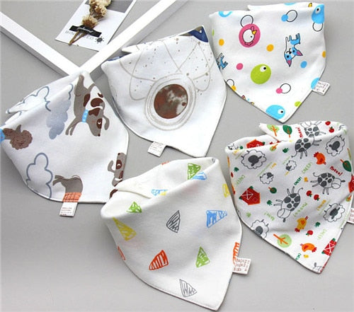 Baby Bibs Triangle Double Cotton Bibs 5 pieces/lot Cartoon Print Saliva Towel Baby Boys Girls Feeding Apron Cotton Bandana Bibs