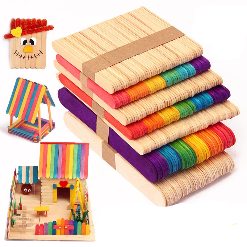 50Pcs DIY Wooden Stick Popsicle Ice Cream Sticks Colorful Hand Crafts Art