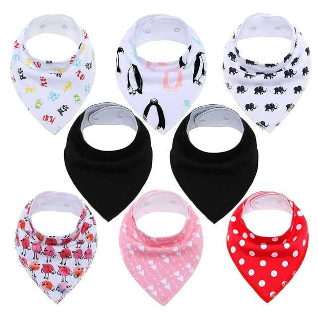 8Pcs/Lot Soft Comfortable Colorful 100% Organic Cotton And Baby Bandana For Boys &Girls Infant Adjustable Snaps Saliva Baby Bibs