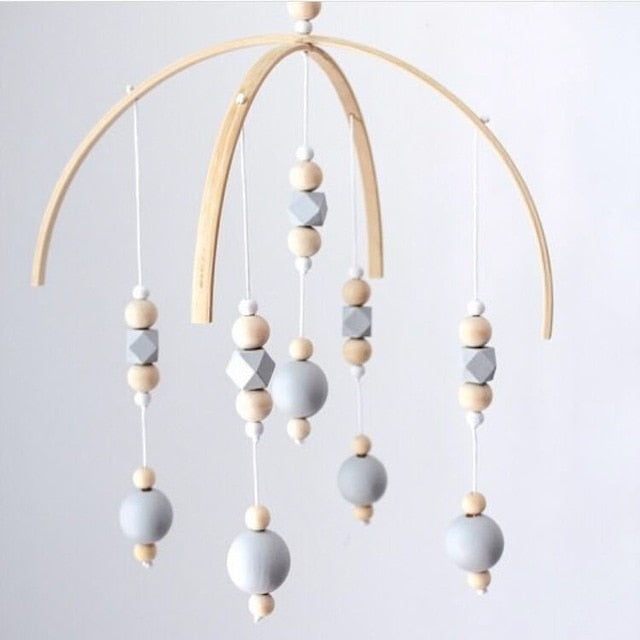 Baby Rattle Mobile Toys Wooden Beads Crib Toy Bed Hanging Newborn Wind Chimes Bell Nordic Kids Room