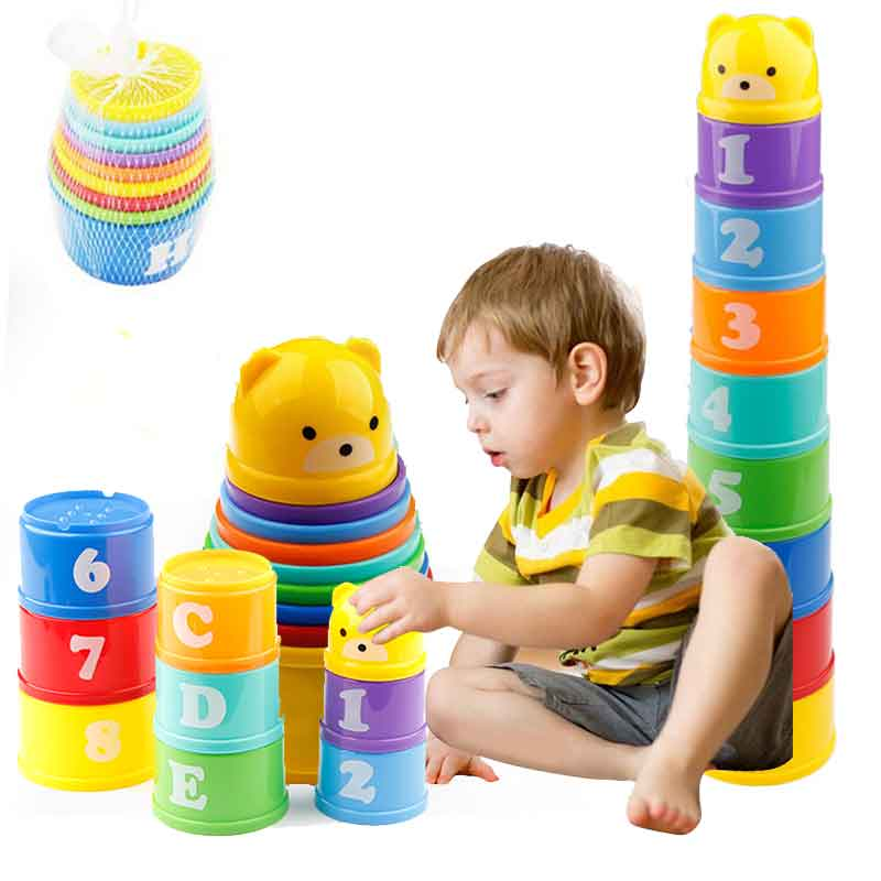 8PCS Educational Baby Toys 6Month Figures Letters Foldind Stack Cup Tower Children Early Intelligence