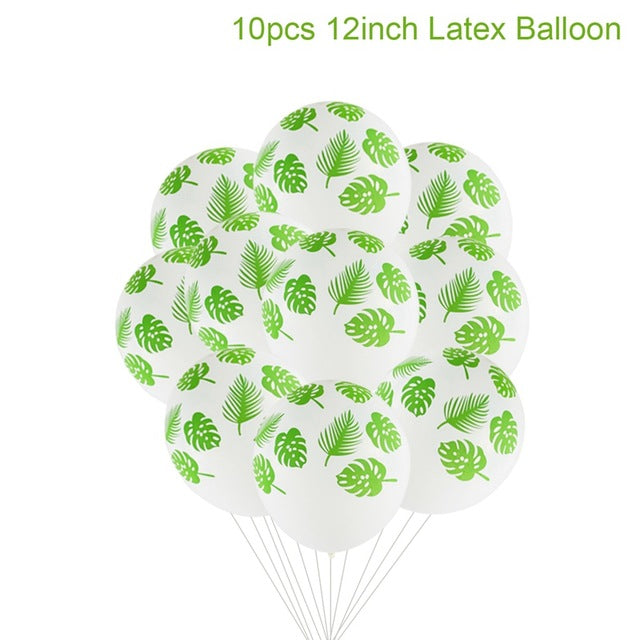 Leaf Tropical Party Balloons Wild One Birthday Ballons Confetti Latex Baloons Jungle Safari Hawaiian Party Decor