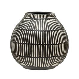 Debossed Stoneware Vase- Black/White