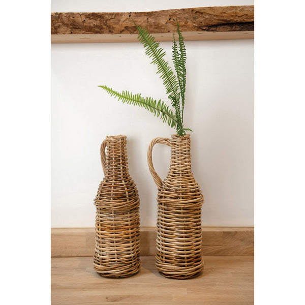 Rattan Jug w/Glass Bottle