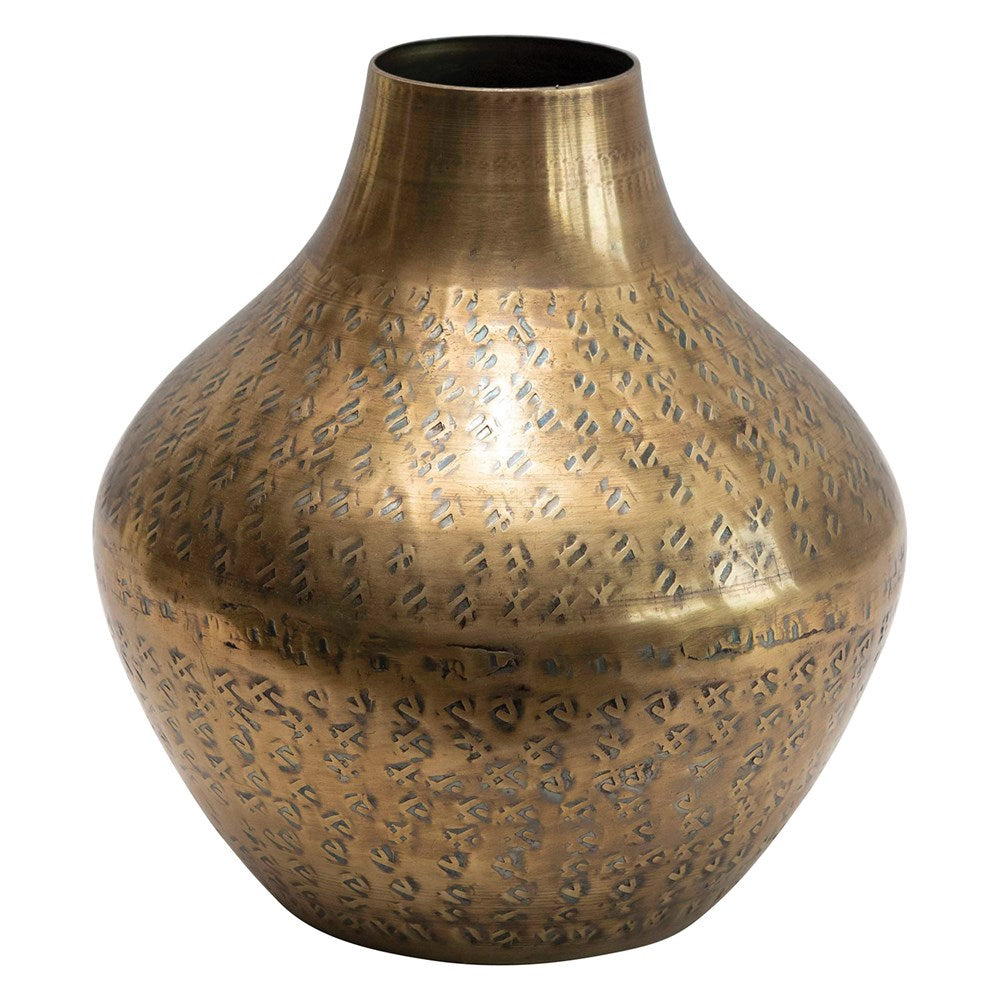 Hammered Metal Vase- Antique Brass